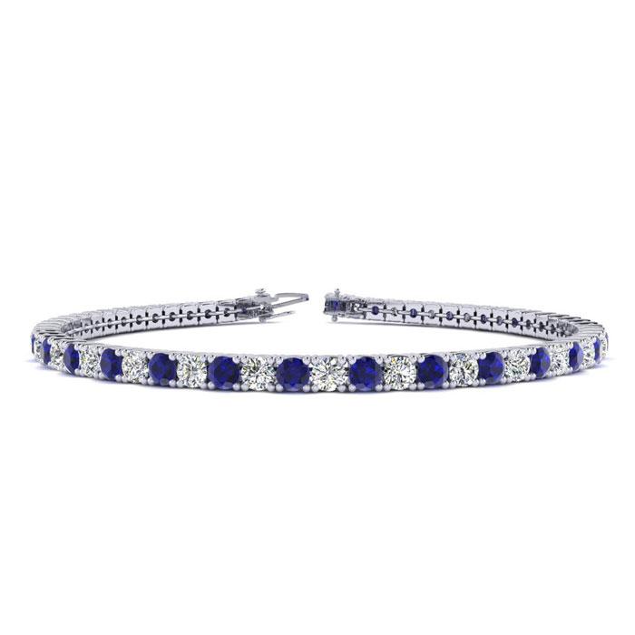3 3/4 Carat Sapphire & Diamond Men's Tennis Bracelet in 14K White Gold (10.6 g)