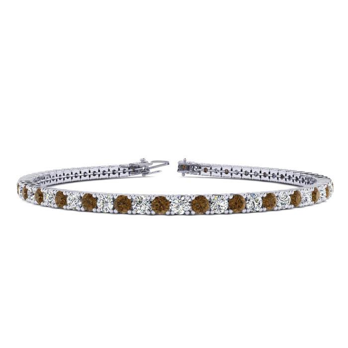 4 3/4 Carat Chocolate Bar Brown Champagne & White Diamond Men's Tennis Bracelet in 14K White Gold (11.4 g)