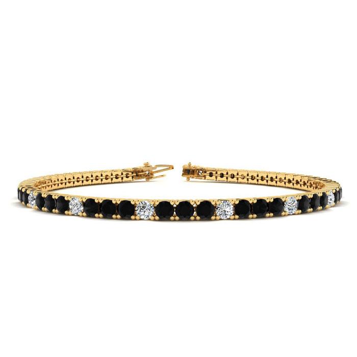 4 3/4 Carat Black & White Diamond Alternating Men's Tennis Bracelet in 14K Yellow Gold (11.4 g)