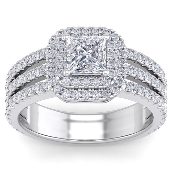 2 Carat Princess Cut Double Halo Diamond Engagement Ring in 14K White Gold (6.30 g) (