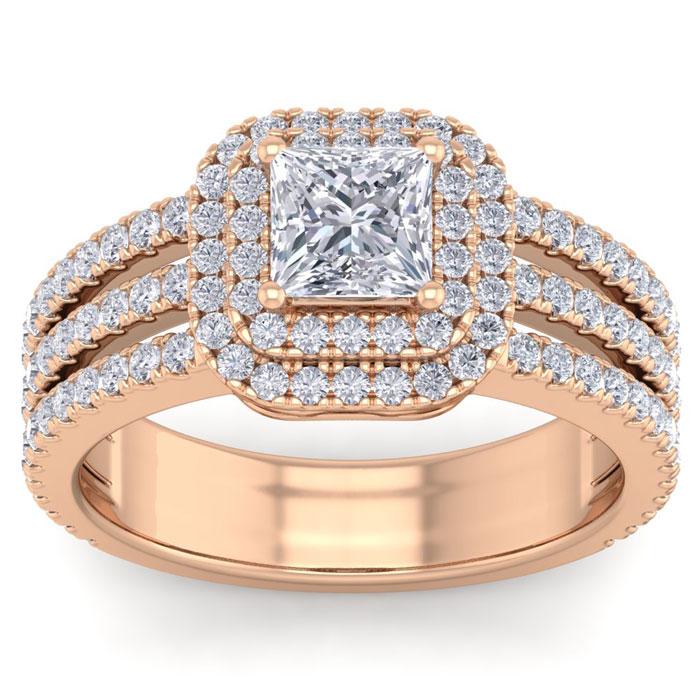 2 Carat Princess Cut Double Halo Diamond Engagement Ring in 14K Rose Gold (6.30 g) (