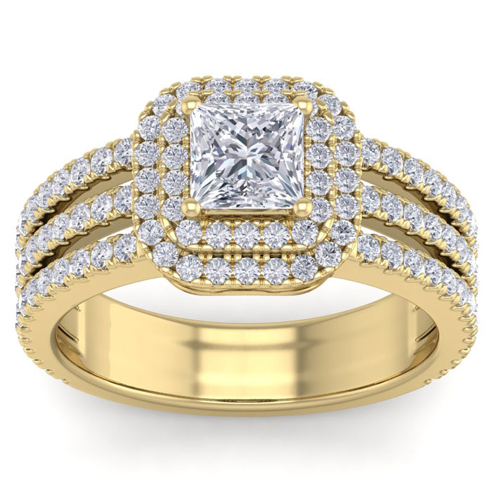 2 Carat Princess Cut Double Halo Diamond Engagement Ring in 14K Yellow Gold (6.30 g) (