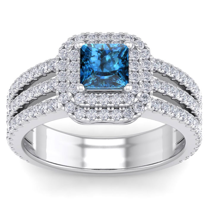 2 Carat Princess Cut Double Halo Blue & White Diamond Engagement Ring in 14K White Gold (6.30 g) (
