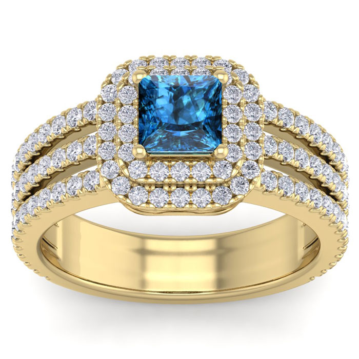 2 Carat Princess Cut Double Halo Blue & White Diamond Engagement Ring in 14K Yellow Gold (6.30 g) (
