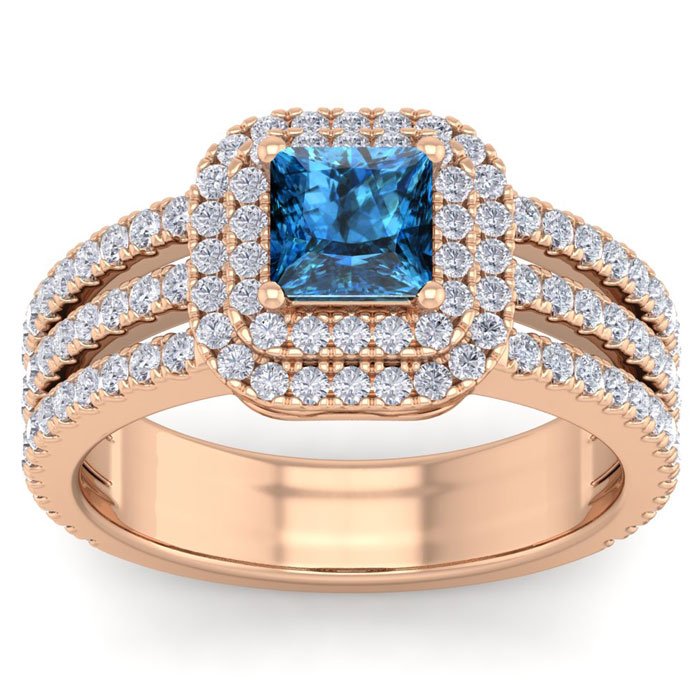 2 Carat Princess Cut Double Halo Blue & White Diamond Engagement Ring in 14K Rose Gold (6.30 g) (