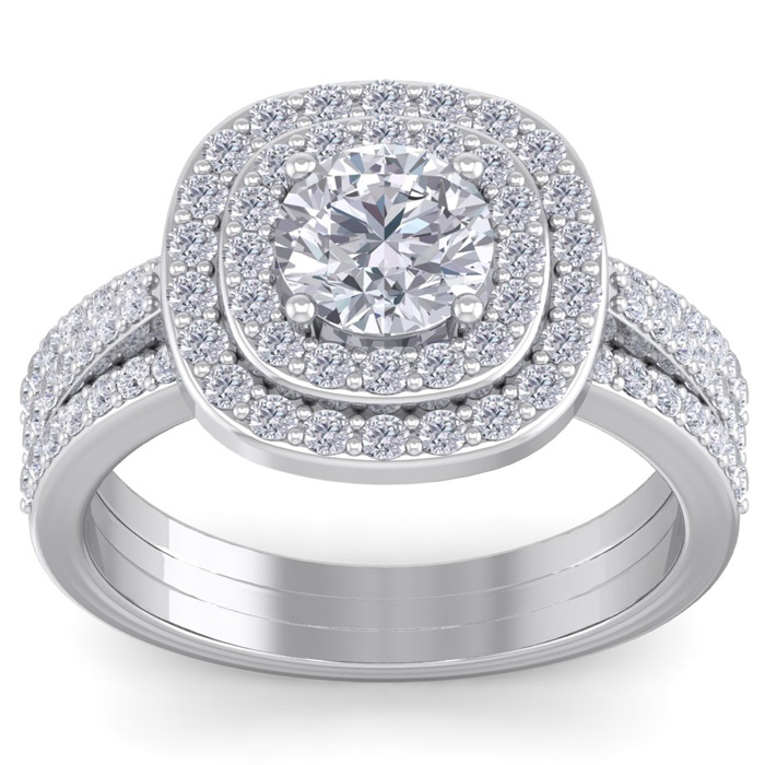 2 Carat Double Halo Diamond Engagement Ring in 14K White Gold (4.80 g) (