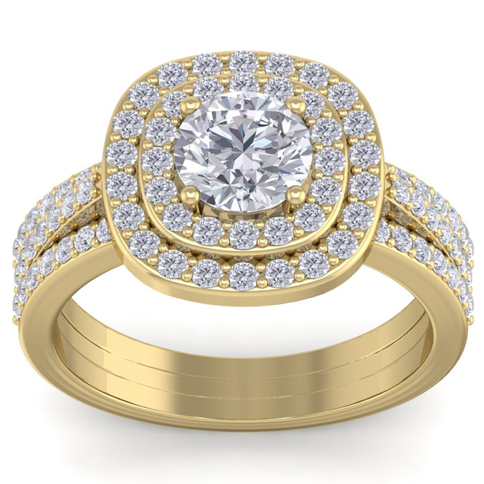 2 Carat Double Halo Diamond Engagement Ring in 14K Yellow Gold (4.80 g) (