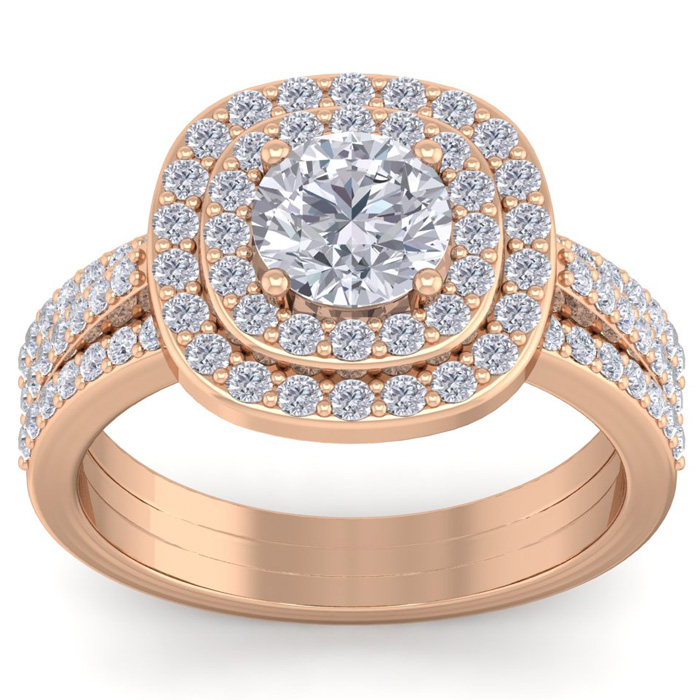 2 Carat Double Halo Diamond Engagement Ring in 14K Rose Gold (4.80 g) (