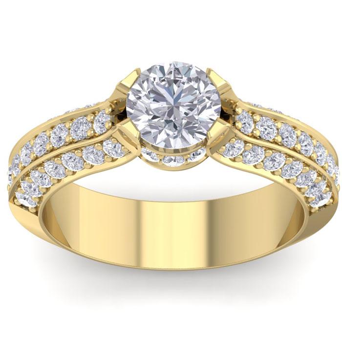 1 3/4 Carat Round Shape Diamond Engagement Ring in 14K Yellow Gold (6.40 g) (