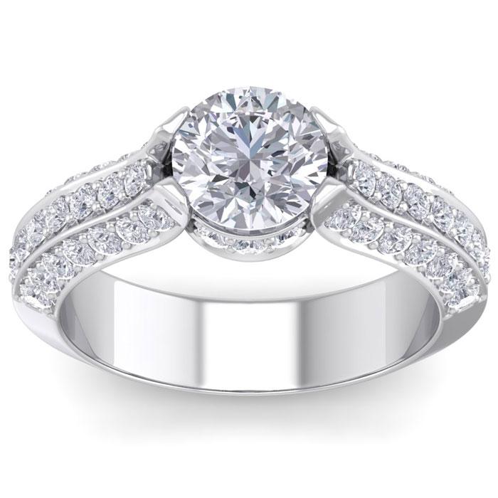 2 1/4 Carat Round Shape Diamond Engagement Ring in 14K White Gold (6.60 g) (