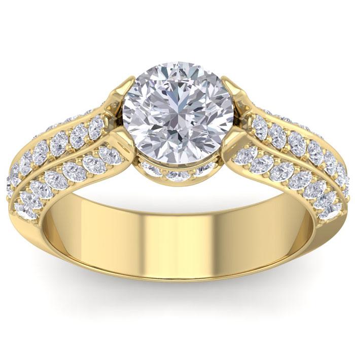 2 1/4 Carat Round Shape Diamond Engagement Ring in 14K Yellow Gold (6.60 g) (