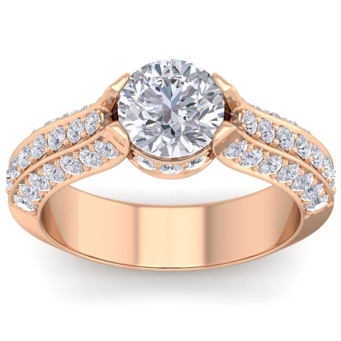 2 1/4 Carat Round Shape Diamond Engagement Ring in 14K Rose Gold (6.60 g) (