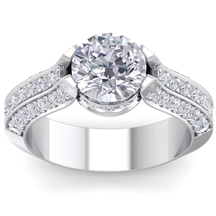 2 3/4 Carat Round Shape Diamond Engagement Ring in 14K White Gold (6.80 g) (