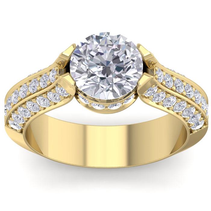 2 3/4 Carat Round Shape Diamond Engagement Ring in 14K Yellow Gold (6.80 g) (