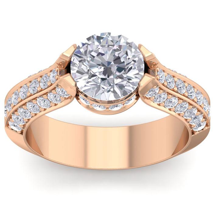 2 3/4 Carat Round Shape Diamond Engagement Ring in 14K Rose Gold (6.80 g) (