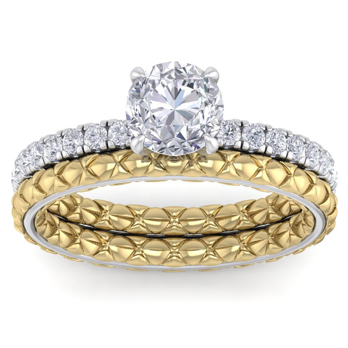 1.5 Carat Round Shape Diamond Bridal Ring Set in Quilted 14K White & Yellow Gold (5 g) (