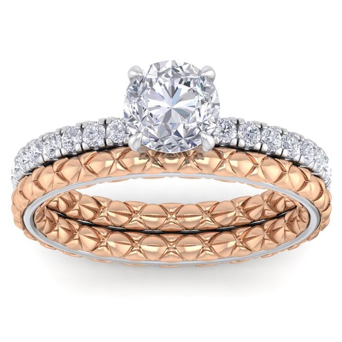 1.5 Carat Round Shape Diamond Bridal Ring Set in Quilted 14K White & Rose Gold (5 g) (