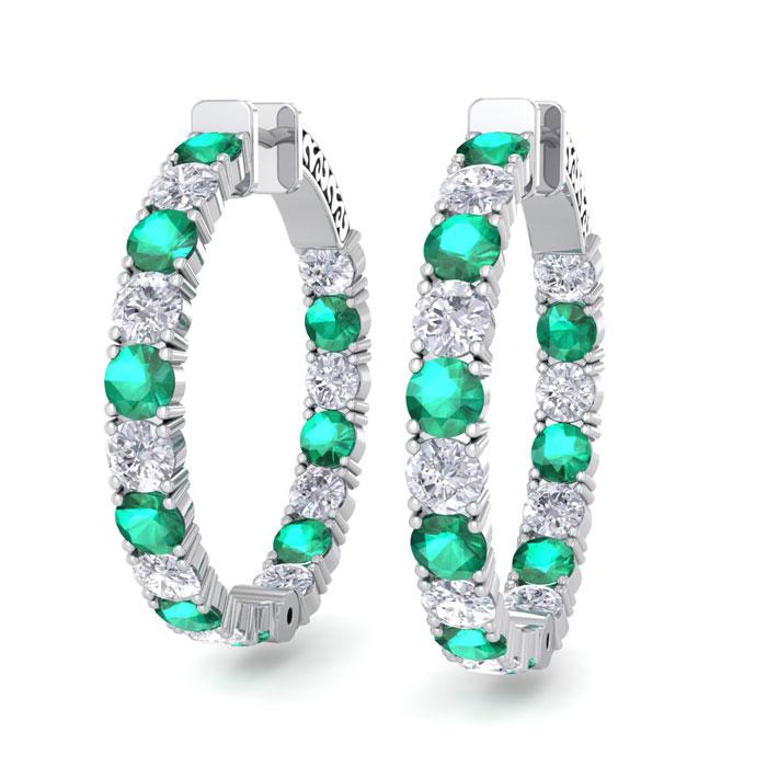 7 Carat Emerald Cut & Diamond Hoop Earrings in 14K White Gold (10 g)