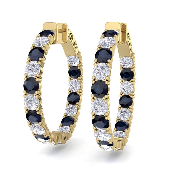 7 Carat Sapphire & Diamond Hoop Earrings in 14K Yellow Gold (10 g)