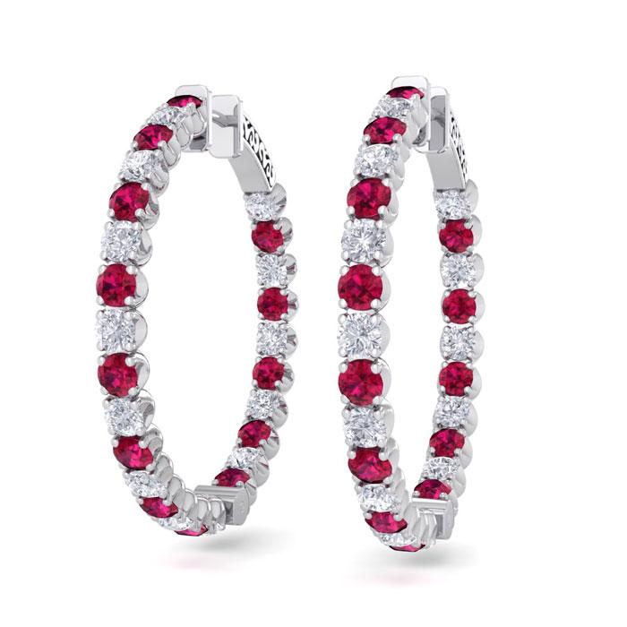 5 Carat Ruby & Diamond Hoop Earrings in 14K White Gold (14 g)