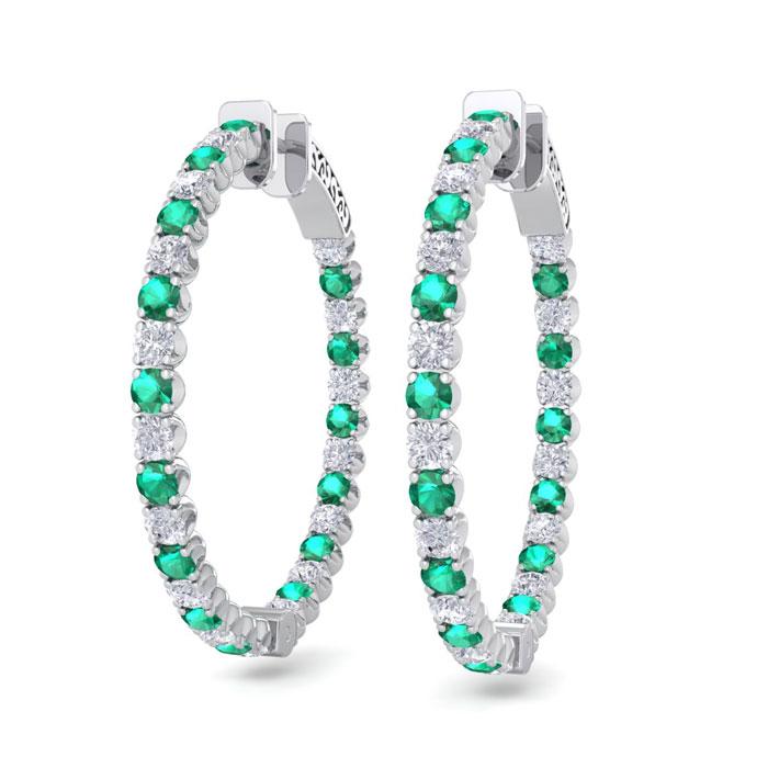 5 Carat Emerald Cut & Diamond Hoop Earrings in 14K White Gold (14 g)