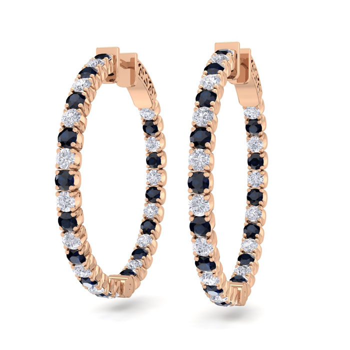 3 1/2 Carat Sapphire & Diamond Hoop Earrings in 14K Rose Gold (12 g)