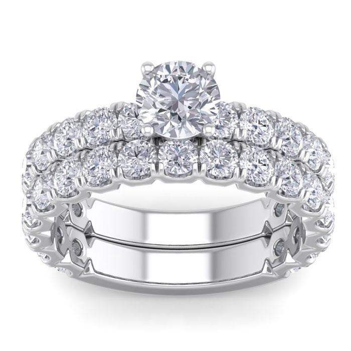 3 1/4 Carat Round Diamond Bridal Ring Set in 14K White Gold (6 g) (