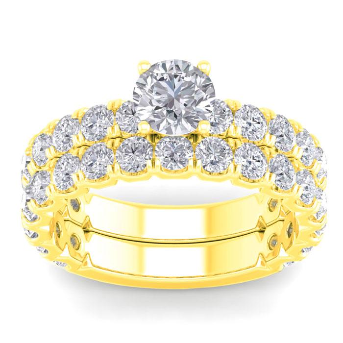 3 1/4 Carat Round Diamond Bridal Ring Set in 14K Yellow Gold (6 g) (