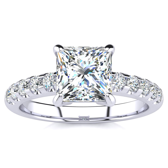 1 3/4 Carat Traditional Diamond Engagement Ring w/ 1.5 Carat Center Princess Cut Solitaire in 14K White Gold (4.5 g) (