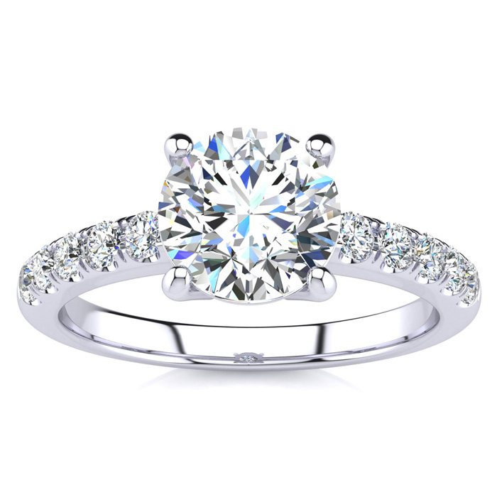 1 3/4 Carat Traditional Diamond Engagement Ring w/ 1.5 Carat Center Round Solitaire in 14K White Gold (4.5 g) (