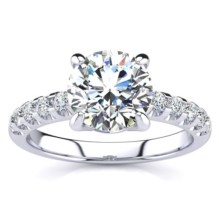 2 1/3 Carat Traditional Diamond Engagement Ring w/ 2 Carat Center Round Solitaire in 14K White Gold (4.5 g) (