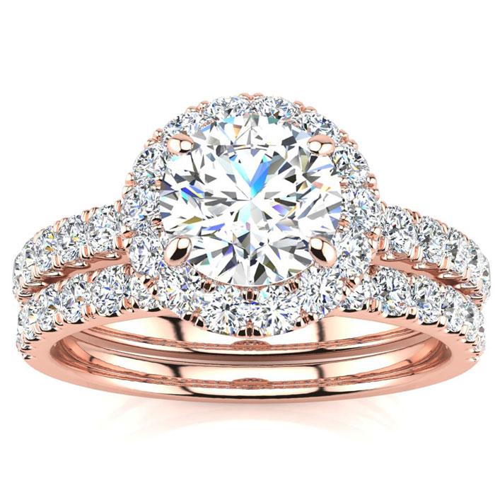 2 Carat Round Cut Diamond Bridal Engagement Ring Set w/ 1 Carat Center Diamond in 14k Rose Gold (7 g) (