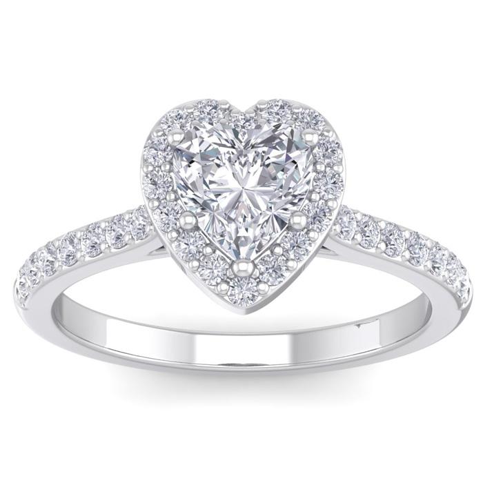 1 1/3 Carat Heart Shape Halo Diamond Engagement Ring in 14K White Gold (3.70 g)