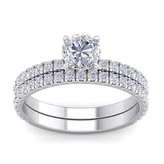 2 Carat Round Shape Diamond Bridal Ring Set in Platinum (