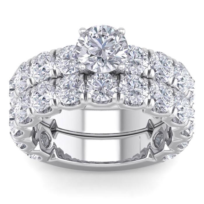 6 Carat Round Shape Diamond Bridal Ring Set in 14K White Gold (10 g) (
