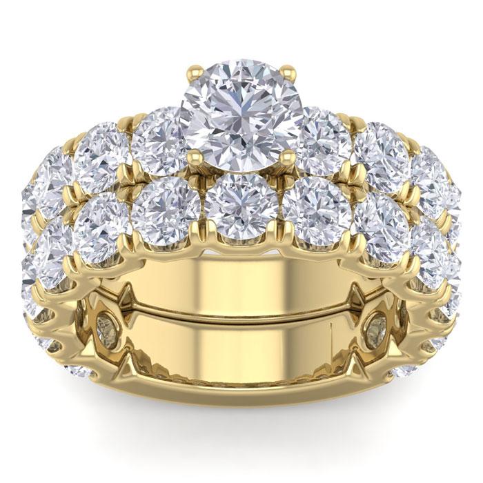 6 Carat Round Shape Diamond Bridal Ring Set in 14K yellow Gold (10 g) (