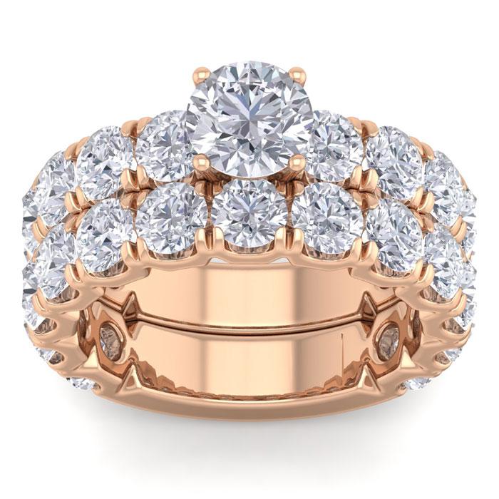 6 Carat Round Shape Diamond Bridal Ring Set in 14K rose Gold (10 g) (