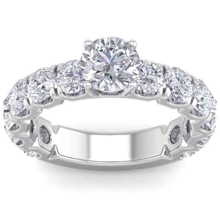 3 1/2 Carat Round Shape Diamond Engagement Ring in 14K White Gold (5.20 g) (