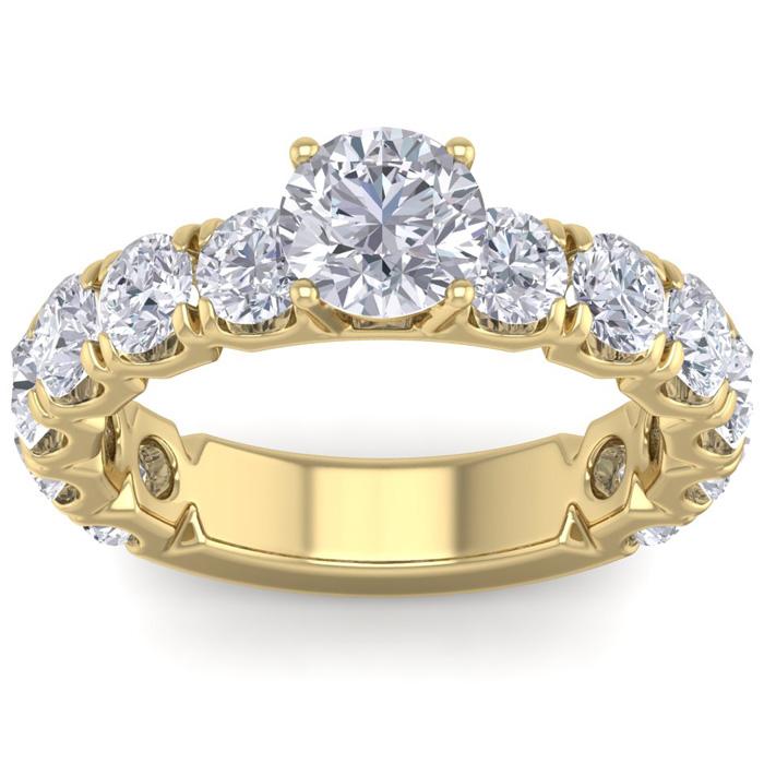 3 1/2 Carat Round Shape Diamond Engagement Ring in 14K yellow Gold (5.20 g) (