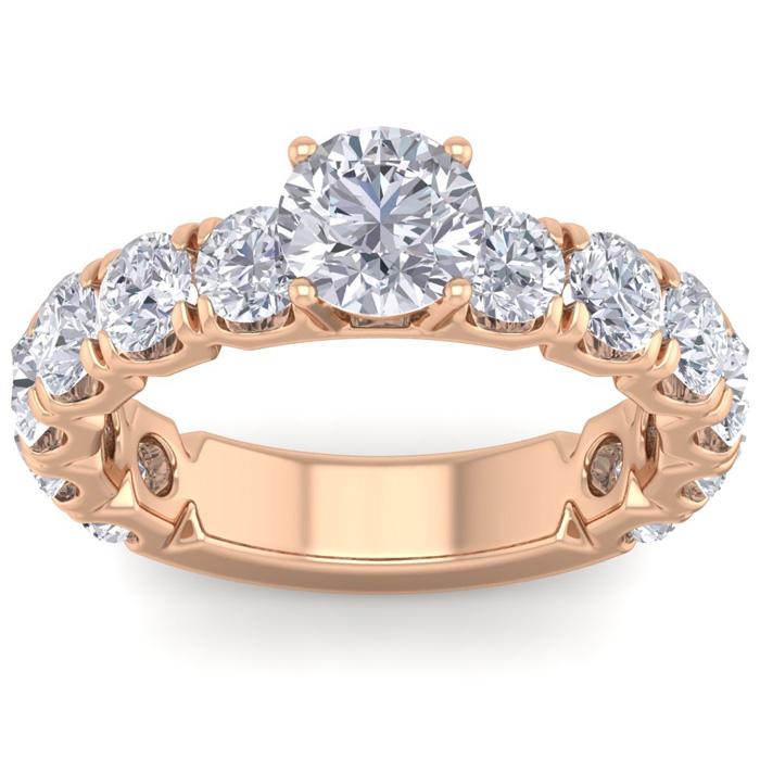 3 1/2 Carat Round Shape Diamond Engagement Ring in 14K rose Gold (5.20 g) (