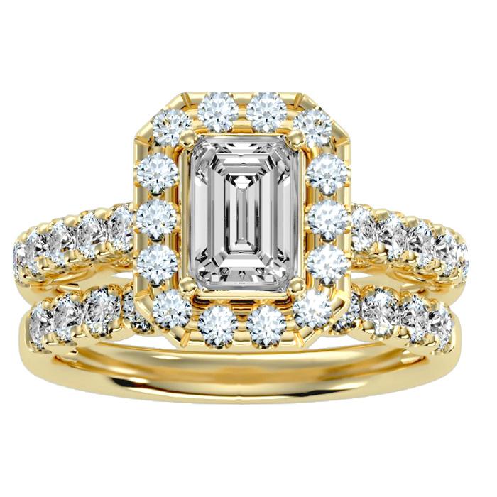 3 Carat Emerald Cut Halo Diamond Bridal Ring Set in 14K yellow Gold (7 g) (