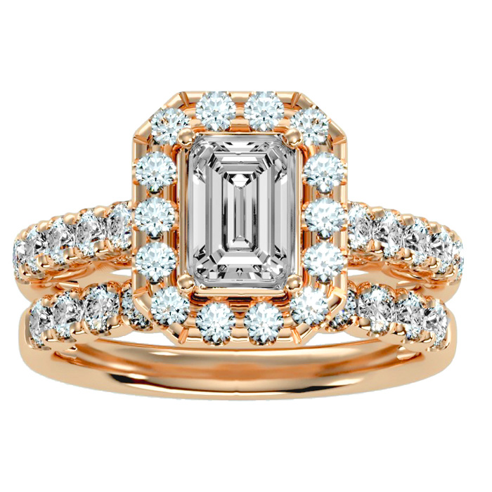 3 Carat Emerald Cut Halo Diamond Bridal Ring Set in 14K rose Gold (7 g) (