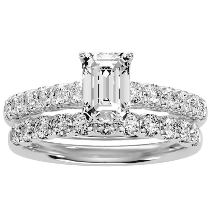 3 Carat Emerald Cut Bridal Ring Set in 14K White Gold (6 g) (