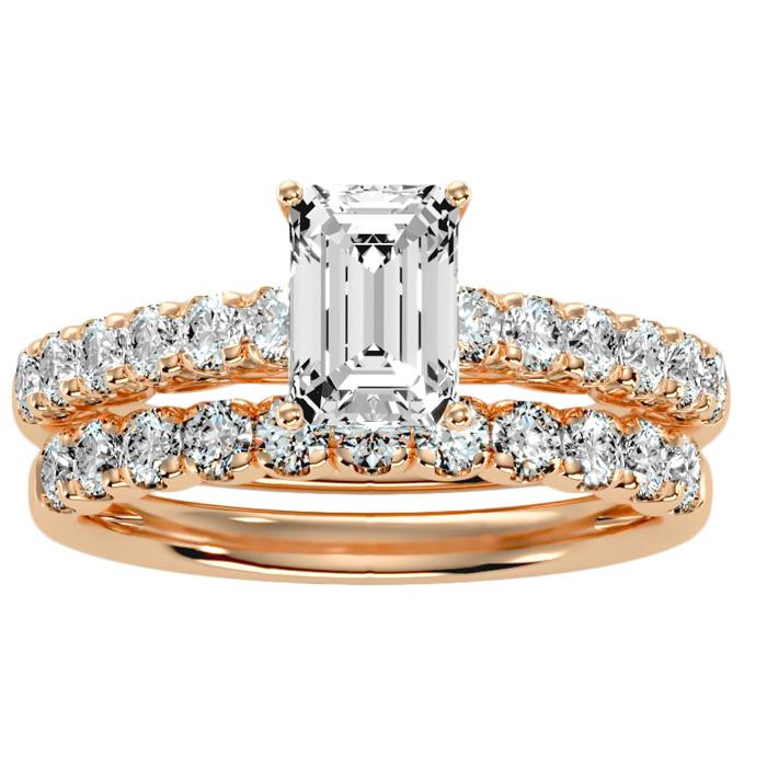 3 Carat Emerald Cut Bridal Ring Set in 14K rose Gold (6 g) (