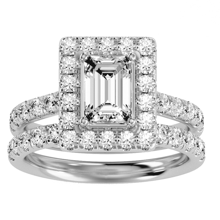 3 Carat Emerald Cut Halo Diamond Bridal Ring Set in 14K White Gold (7 g) (