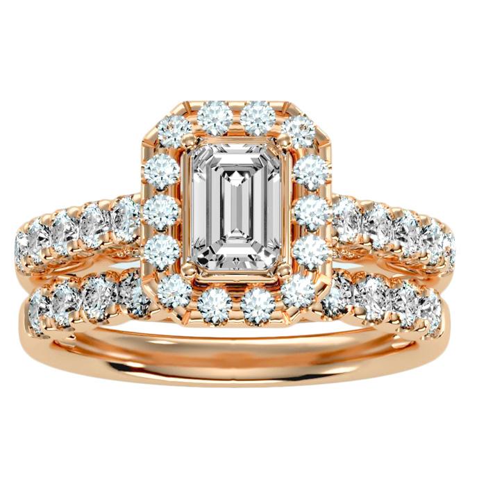 2.5 Carat Emerald Cut Halo Diamond Bridal Ring Set in 14K rose Gold (6.50 g) (
