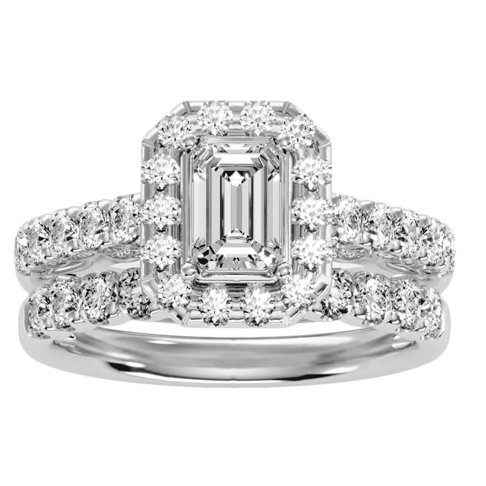 2.5 Carat Emerald Cut Halo Diamond Bridal Ring Set in 14K White Gold (6.50 g) (