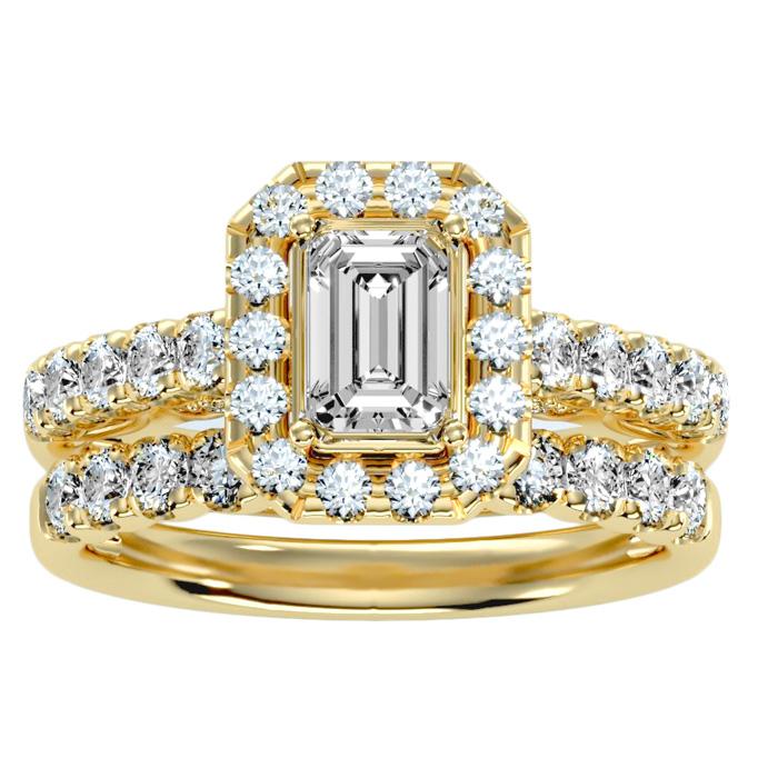 2.5 Carat Emerald Cut Halo Diamond Bridal Ring Set in 14K yellow Gold (6.50 g) (