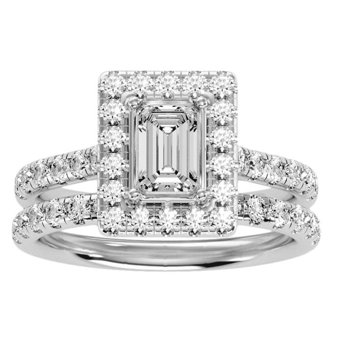 2.5 Carat Emerald Cut Halo Diamond Bridal Ring Set in 14K White Gold (6.30 g) (