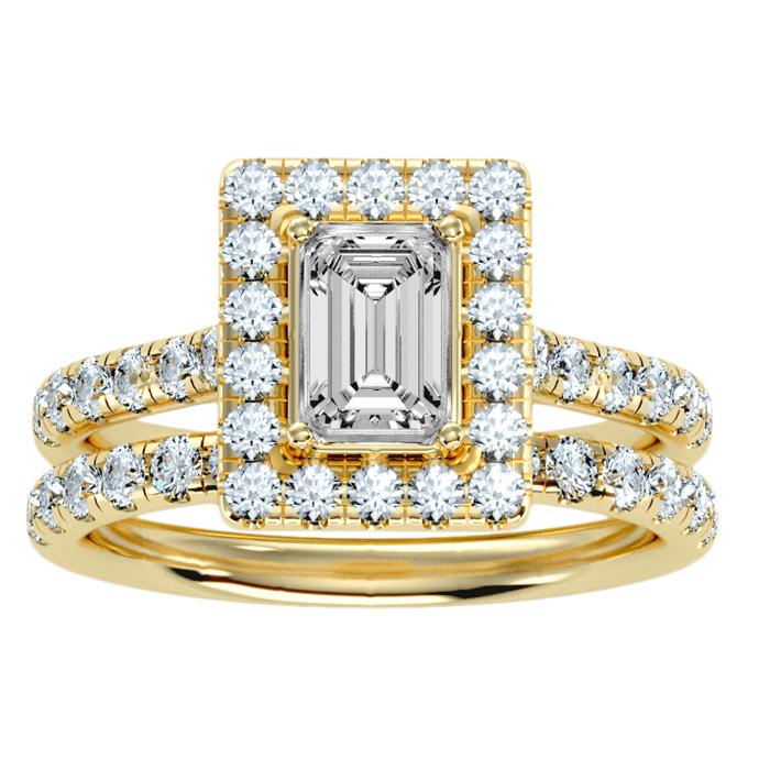 2.5 Carat Emerald Cut Halo Diamond Bridal Ring Set in 14K yellow Gold (6.30 g) (